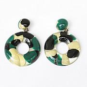 Marc Labat Paris Vintage clip Earrings Carved Lucite Space Age clear inclusions