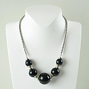 Vintage Jakob Bengel Necklace Art Deco chrome black blue marble bakelite bead