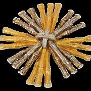Mimi di N - Niscemi Signed rare Vintage goldtone silvertone Couture Bamboo Pin Brooch