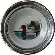 """Frank M Whiting Sterling Silver and Porcelain """"Redhead"""" Duck Coaster"""