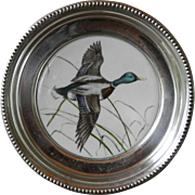 """Frank M Whiting Sterling Silver and Porcelain """"Mallard"""" Duck Coaster"""