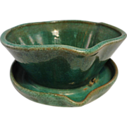 A. R. Cole Pottery Flower Pot, Green Glaze, Flared Rim