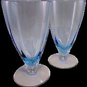 Fostoria Azure Blue Fairfax Iced Tea Glasses