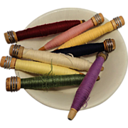 Collection of 8 Wooden Bobbins with Thread