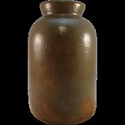 19th C. Salt Glazed Redware 2 Qt. Canning Jar