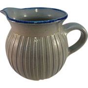 Stoneware Pitcher, Incised Vertical Bands, Blue Sponged Rim