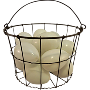 SOLD Vintage Wire Ware Basket With 13 Blown Glass Nesting Eggs