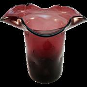 Amethyst Blown Glass Vase, Dimpled Body, Folded Rim