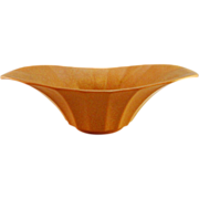 Hyalyn Mid Century Modern Oval Paneled Bowl #308, Matte Rust Glaze