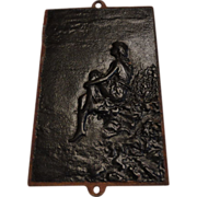 Victorian Cast Iron Panel, Girl Seated on Rocks