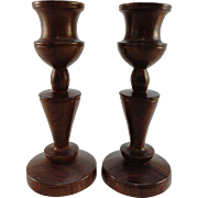 Pair of Turned Mahogany Candlesticks, C. 1925