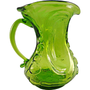 Consolidated Glass Catalonian Spanish Knobs Pinched Pitcher, Emerald Green