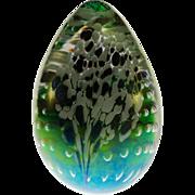 SOLD Glass Eye Studio Iridescent Egg Paperweight