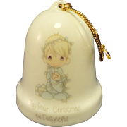 Porcelain Christmas Bell Ornament, 'May your Christmas be delightful', Precious Moments