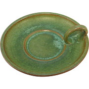 A.R. Cole Pottery Green Crystalline Glaze Chamberstick, C. 1950