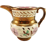 Copper Lustre Jug with Handpainted Florals
