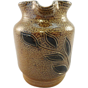 ca. 1940 Miniature Stoneware Pitcher, Brown Glaze, Cobalt Decoration,  James Maloney