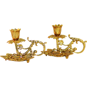 Pair of Ornate Virginia Metal Crafters Brass Candle Holders