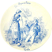 REDUCED French Story Plate, U & C  Sarreguemines,  Signes des Temps 'Grele'