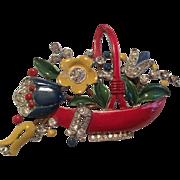 TRIFARI 1939 enamel flower basket pin brooch