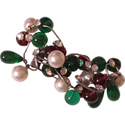 Deposé Gripoix for  Chanel huge glass pearls fur clip pin brooch 60's