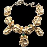 SALE CARNEGIE gold nugget sculptural Necklace 50s piece !!!