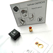 """Nathalie Dmitrovic """" the Calice """"  Gold plated Silver Sculpture Ring With Real Coral"""