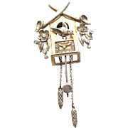 SALE DE Rosa sterling cuckoo clock Pin Brooch Fur clip