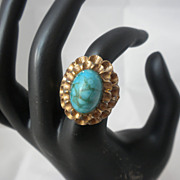 Vendome Vogue Magazine 1962 faux turquoise RING