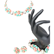 MX numbered Faux Coral and Faux Jade Parure Necklace bracelet earrings set set