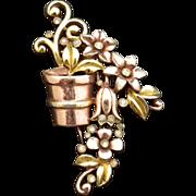TRIFARI 1991 A.Philippe Flower Pot Basket pin BROOCH