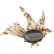 Coro craft Sterling 1944 Grouse Jelly Belly  Pin Brooch