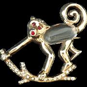 STERLING Jelly Belly Monkey 1944 Pin Brooch