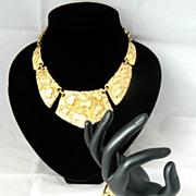 NAPIER gold nugget Necklace and Bracelet Parure SET!