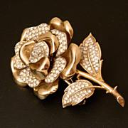 TRIFARI 1951 Tridimensiona Gold wash AMAZING  Rose Pin brooch