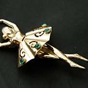 CORO script green rhinestones Ballerina PIN Brooch from the 40's