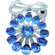 Eisenberg ice Blue faceted stones ribbon Pin Brooch