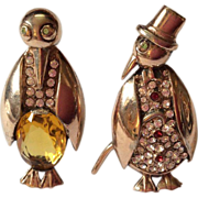 Sterling 40's Mr and Mrs Penguin Couple Pin Brooch set
