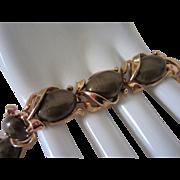 REDUCED 1/2 OFF!  Vintage Crown Trifari Dark Olive Lucite Bracelet