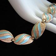 REDUCED 1/2 OFF!! ~ Vintage Karu Arke Turquoise Enamel and Gold Tone Bracelet ~ ...
