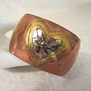 REDUCED 1/2 OFF!! ~ Wide Vintage Copper Cuff Bracelet with Brass and Abalone Heart ...