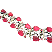 REDUCED Vintage (Pegasus) Coro Red Glass Leaves and Rhinestones Bracelet ~ REDUCED!!