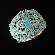 Vintage Faux Turquoise Wide and Dramatic Cuff Bracelet