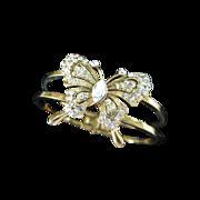 Vintage Clear Rhinestone Butterfly Clamper Bracelet
