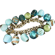 Aquamarine and Turquoise Faux Stone and Art Glass Charm Bracelet