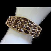 SALE Vintage Dark Topaz Rhinestone Clamper Bracelet