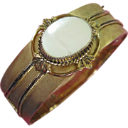 REDUCED Vintage Whiting & Davis Mother of Pearl Hinged Bangle Bracelet ~ REDUCED!