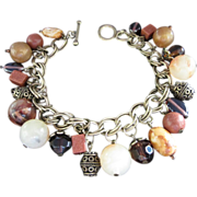 REDUCED Vintage Lucite, Goldstone and Glass Charm Bracelet ~ REDUCED!