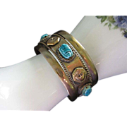 REDUCED Egyptian Revival Brass Cuff Bracelet with Faience Scarabs & Pharaohs