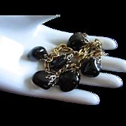 Obsidian Teardrop Charm Bracelet